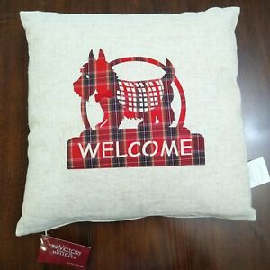 """NWT Mina Victory Home for the Holidays Scottie Terrier Christmas Pillow 17""""x17"""""""