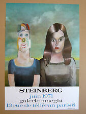 Saul STEINBERG Affiche originale Exhibition 71 Paris New Yorker COUPLE Roumanie