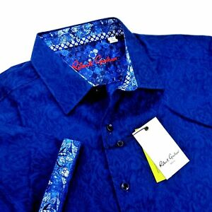 Robert Graham Geometric Medallion Paisley Print Short Sleeve Navy Blue Shirt