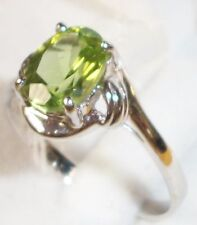 14KT Gold Green Peridot Hawaiian Hawaii Diamond Ring 7 2.1g