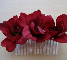 Triple Red Apple Blossom  Silk Flowers  Hair Comb, Rockabilly, Prom, Bridal