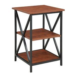 Convenience Concepts Tucson 3 Tier End Table, Black/Cherry - 161849