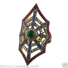 Studded Silver Spider Web Ring Jewelry Vintage 2.45cts Rose Cut Diamond Gemstone
