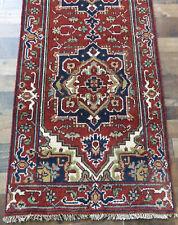 "2'6""x8' New hand knotted wool super Serapi Herizz Oriental Geometric rug runner"