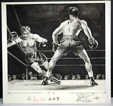 BOXING Fight ORIGINAL Illustration PULP ART Magazine Rocky Blood RAGING BULL VTG
