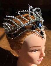 Professional Black Swan Odile Satanella Headpiece Tiara Crown Silver AB Crystals