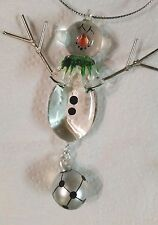 Soccer Snowman with Soccer Ball Holiday Ornament