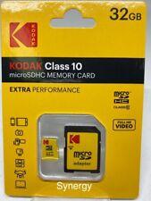 Kodak 32 GB Micro SD HC Flash Memory Card Class 10 With Adapter new