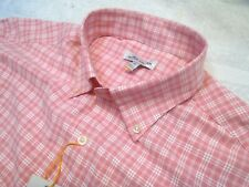 Peter Millar Crown Sport Pink Plaid Pattern Sport Shirt NWT Medium $129