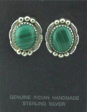 Vintage Native American Navajo Earrings Malachite Sterling Silver