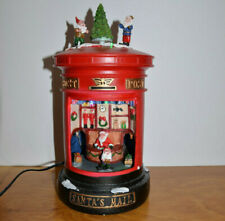 CHRISTMAS POST OFFICE WITH SANTA RESIN VILLAGE DECORATION MUSIC BOX LIGHTS