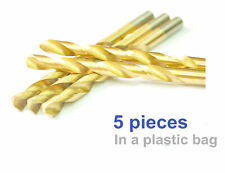 7/16 inch Drill Bits, Jobber Length, 5pcs, HSS Titanium Coated, Drillforce