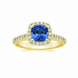 Cushion 2.00 Carat Real Diamond Blue Sapphire Rings 14K Yellow Gold Size M N O P
