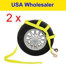 Car Hauler Tow Dolly Basket Straps Wheel Net Set Snap 2 (double) Hook Y