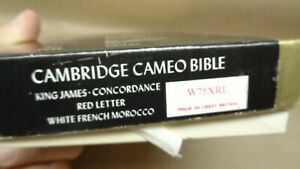 Cambridge Cameo Holy Bible White Leather Bound KJ Red Letter White French Morocc