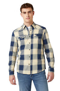 Wrangler Mens Sustainable Cotton Collared Long Sleeved Western Checked Shirt
