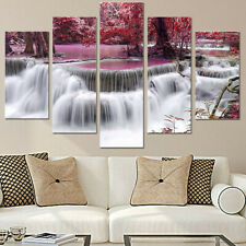 5 Panel Red Tree Forest Waterfall Canvas Modern Home Wall Art Painting Picture