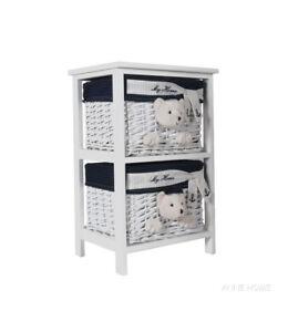 Teddy Bear Wicker Willow Storage Basket 2 Drawer Units Portable Coastal Decor