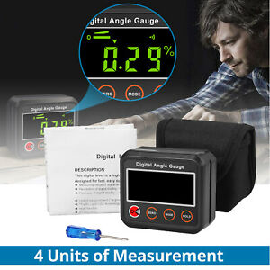 Digital Angle Gauge Protractor Inclinometer LCD  360° Level Box Audible buzzer