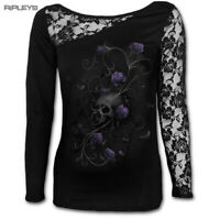 SPIRAL DIRECT Ladies Black Goth ENTWINED Skull Lace Top L/Sleeve S 8 LAST ONE
