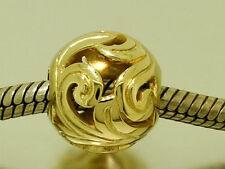 Bd059 - GENUINE 9ct SOLID Yellow Gold Filigree Achanthus Bead Charm Baroque