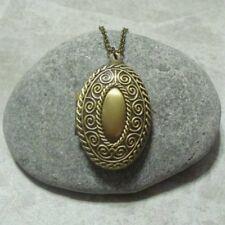 Oval Spiral Locket Necklace Pendant Jewelry Antique Bronze