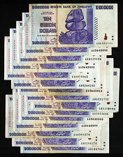 15 x 10 Billion Zimbabwe Dollars Banknotes AA AB 2008 ~ Paper Money Currency Lot