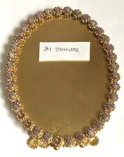 Jay Strongwater Oval 5x6.5 Decorative Frame Light Purple Agate Stones Swarovski