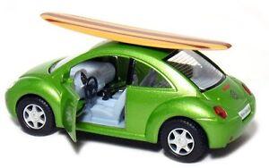 """Kinsmart 5"""" Volkswagen New Beetle w/ Surfboard 1:32 Diecast Model Toy VW Green"""