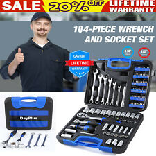 "DAYPLUS Socket Set 104 Piece, Wrench Kit & Ratchet Driver 1/4 1/2"" With Case NEW"