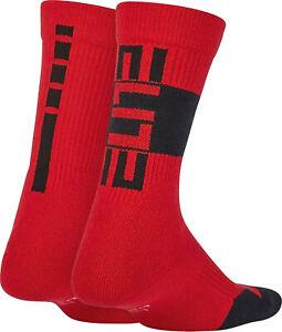 NIKE Kid's Elite Basketball  2-Pack Crew Socks sz 5-7 (10C-3Y) Gym Red Black
