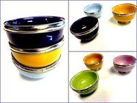 "Small Bowl Cups Terracotta Silver Metal Trim 4"""
