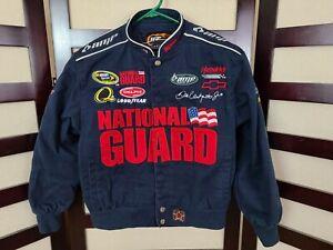 JR Nation Boys Blue Racing Nascar Jacket Dale Earnhardt Jr National Guard Sz 7/8