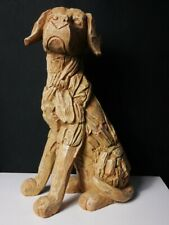 More details for large wood effect dog sculpture driftwood labrador garden ornament statue