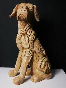 Large Wood Effect Dog Sculpture Driftwood Labrador Garden Ornament Statue