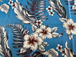 "Hibiscus/plumeria, tropical foliage against textured cotton barkcloth 54"" x 36"""