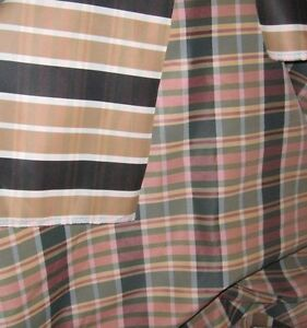 1 3/4 YARDS REVERSIBLE FABRIC ~ STRIPED & PLAID ~ DRAPERY / UPHOLSTERY