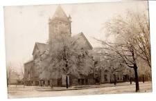 RPPC Real Photo Kirche Traverse City, Mi. Eissturm Einfrieren Regen auf Bäumen