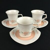 Set of 3 VTG Cups and Saucers by Nikko Peachglow Quadrille Peach Floral Japan