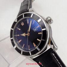 44mm Parnis Schwarz dial Datum Herren Edelstahl Automatikuhr Uhr mens watch