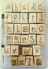 "STAMPIN' UP! ""Doodle Alphabet"" Set of 28 Large Wood Mounted Rubber Stamps"