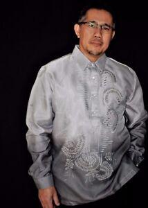 BARONG TAGALOG Filipino National Costume FILIPINIANA Formal Dress Men - Gray