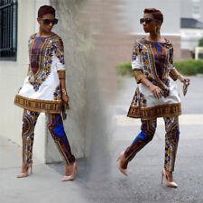 Women Plus Size African Print Dress Traditional Hippie Dashiki Shirt Pants Party