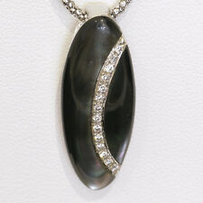 Divine 18ct Mother of Pearl and G/H Diamond oval necklace