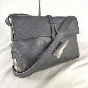 Authentic Rare Vintage Burberry Black Leather Mini Crossbody Shoulder Handbag