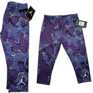 NWT NIKE AIR JORDAN Dri-Fit Girls Printed Capri Legging Ultra Violet SELECT SIZE