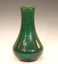 Large Old Antique Awaji Pottery Green Monochrome Japanese Arts & Crafts Vase 12""