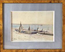 Edouard-Etienne JOUAS 1866-1942.Bateaux de pêche.Aquarelle.1890.SBG.32x23.Cadre.