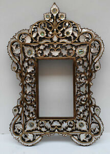 Wall Mirror, Morocco Handmade Mother of pearl Inlaid Wood Wall Mirror Frame
