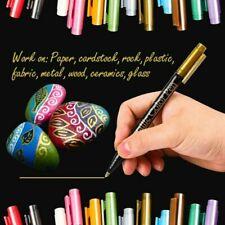 12 Farben Metallic Acrylstifte Marker Set Markierungsstifte Filzstift Steine DE